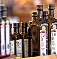 Bottles of Extra Virgin Olive Oil on display